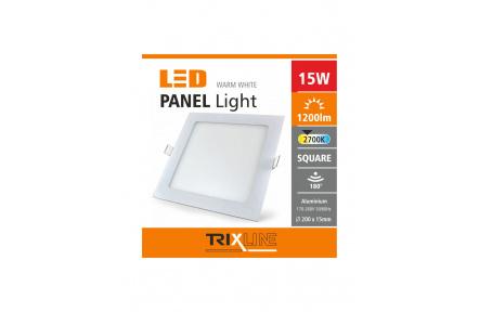 Mennyezeti LED lámpa TRIXLINE – négyszögletes 15W meleg fehér