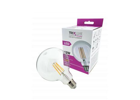 Dekorační LED žárovka FILAMENT Trixline G-125, 10W E27 teplá bílá