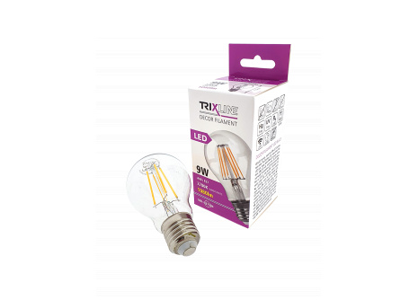 Dekorační LED žárovka FILAMENT Trixline A60, 9W E27 teplá bílá