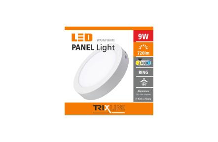 mennyezeti LED lámpa TRIXLINE – felületre szerelt kerek 9W meleg fehér