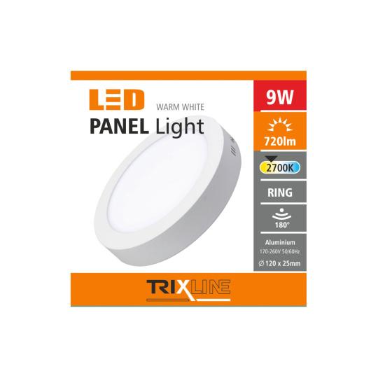 Podhľadové LED svietidlo TRIXLINE – prisadené kruhové 9W teplá biela