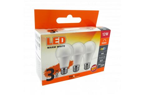 LED žárovka 12W A60 E27 teplá bílá 3 PACK