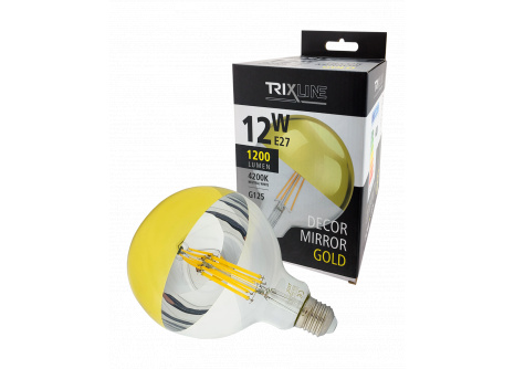 Dekorační LED žárovka Trixline DECOR MIRROR G125, 12W GOLD