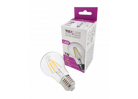 Dekorační LED žárovka FILAMENT Trixline  A60, 7W E27 teplá bílá