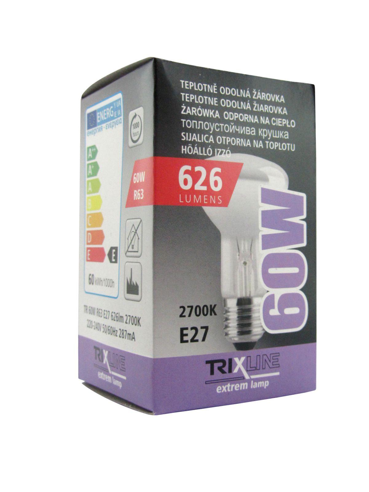 Špeciálna žiarovka BC R63 60W E27 teplá biela