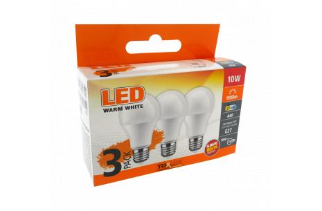 LED žárovka 10W A60 E27 teplá bílá 3 PACK