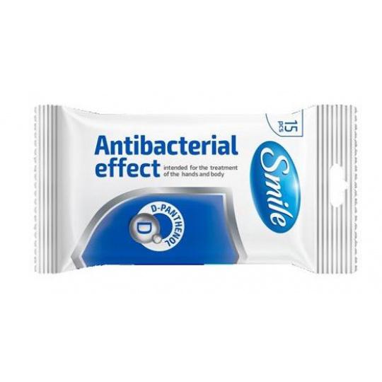 Vlhčené ubrousky antibakteriální SMILE  s D-Panthenolem 15 ks