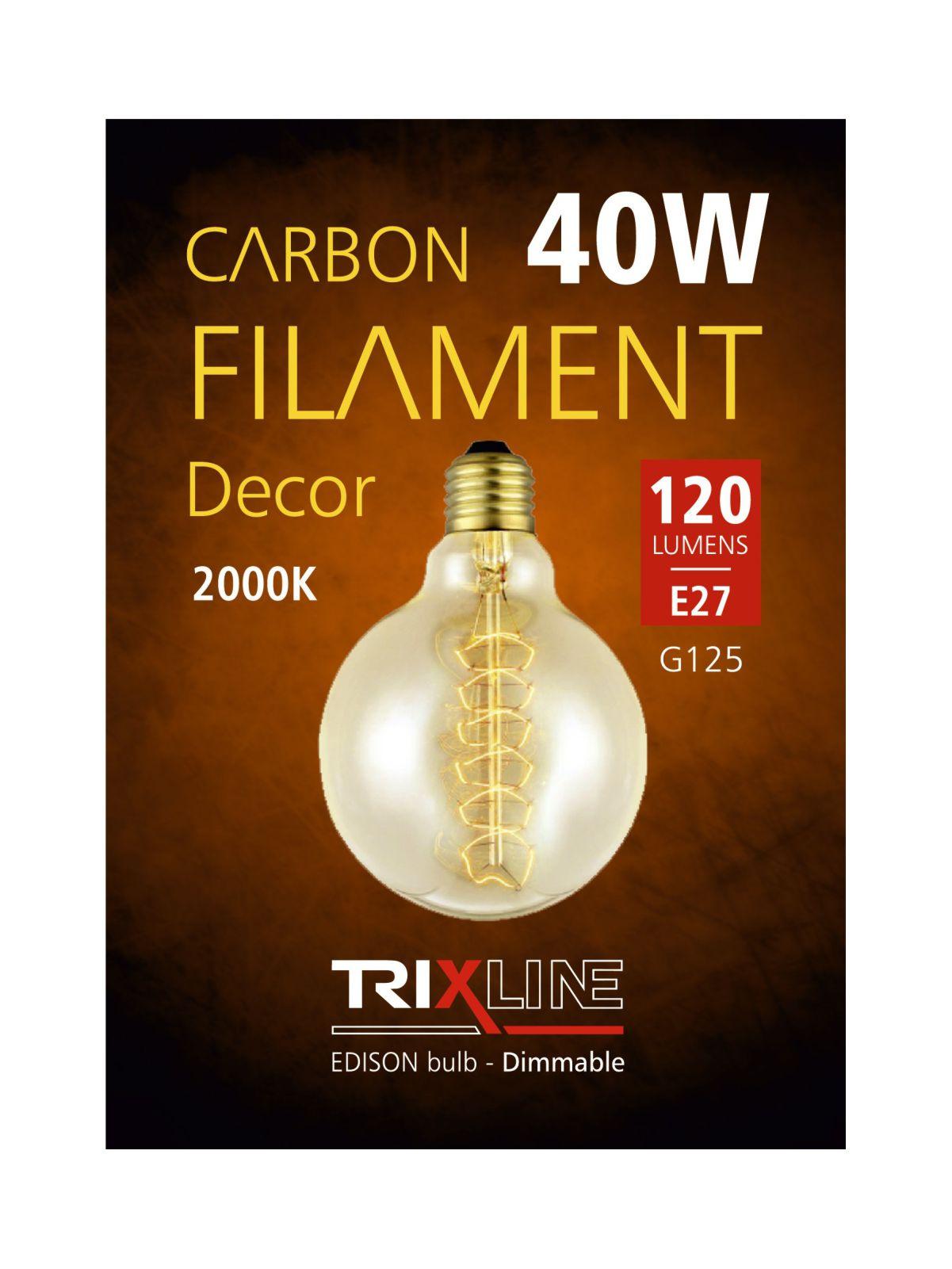 Dekorační stmívatelná žárovka Trixline 40W E27 (G125-S28)