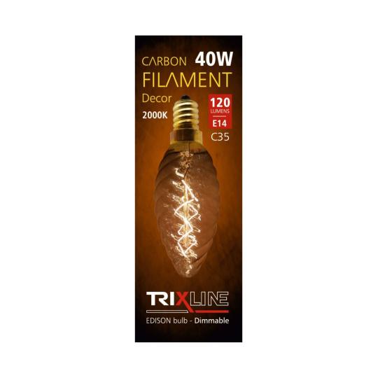 Dekorační stmívatelná žárovka Trixline 40W E27 (C35-T)