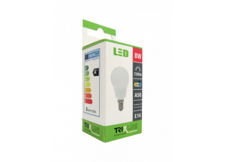 LED žárovka Trixline 8W E14 A50 studená bílá