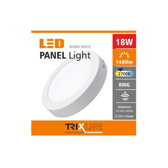 Podhledové LED svítidlo TRIXLINE – přisazené kruhové 18W teplá bílá