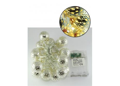 Vánoční LED řetěz Trixline marocké koule teplá bílá