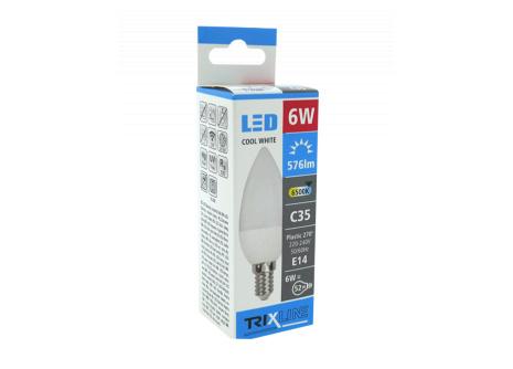LED žárovka BC TR 6W E14 C35 denní světlo