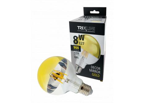Dekorační LED žárovka Trixline DECOR MIRROR G95, 8W GOLD