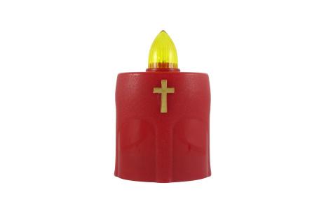 Hřbitovní LED svíčka s křížkem červená