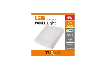 Podhledové LED svítidlo TRIXLINE – přisazené čtvercové 9W teplá bílá