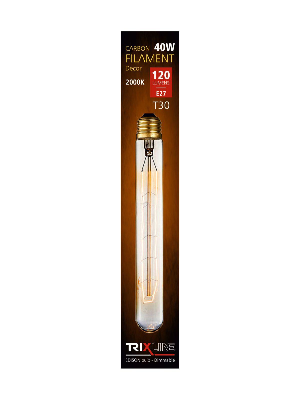 Dekorační stmívatelná žárovka Trixline 40W E27 (T30-185-H12)