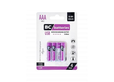 USB Nabíjecí AAA tužková baterie BC batteries 1,2V