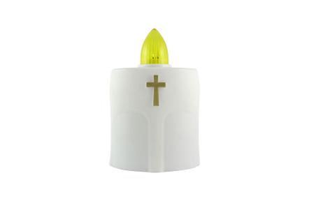 Hřbitovní LED svíčka s křížkem bílá