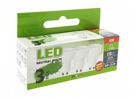 LED žárovka Trixline 6W GU10 studená bílá 3 PACK