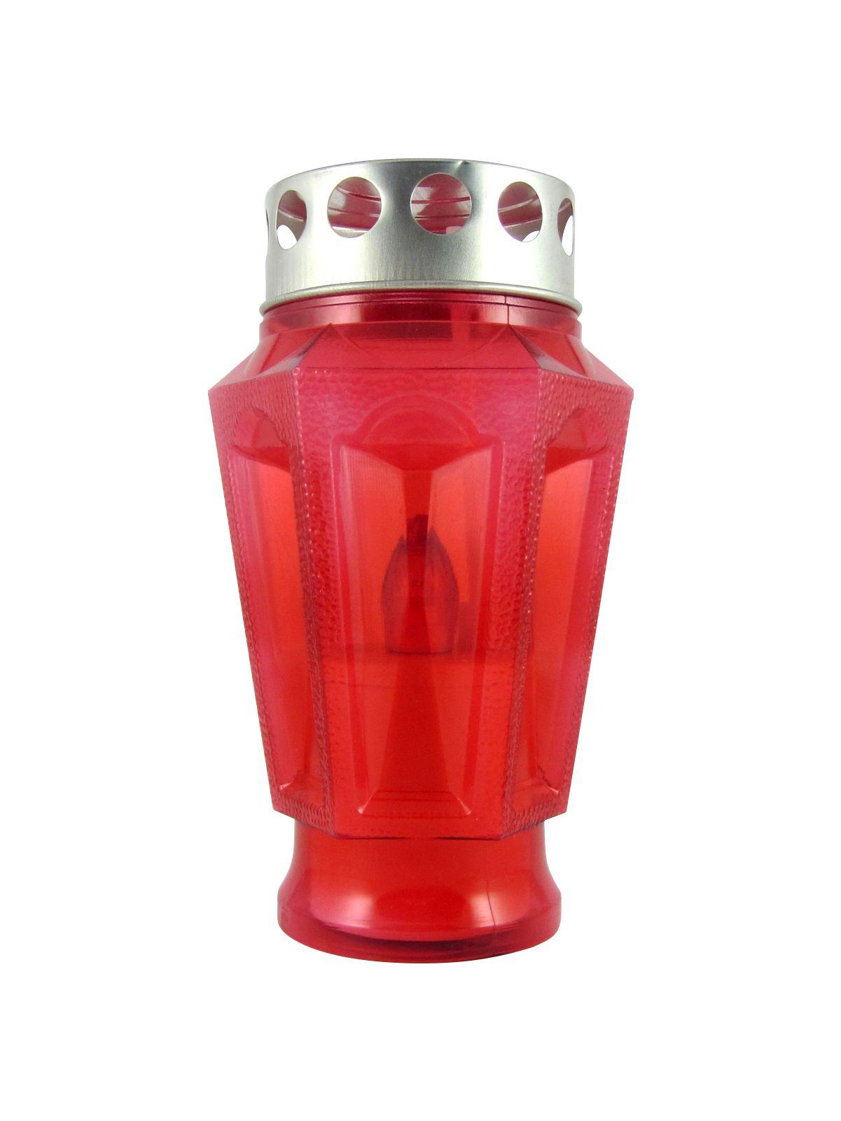 Hřbitovní LED svíčka váza červená