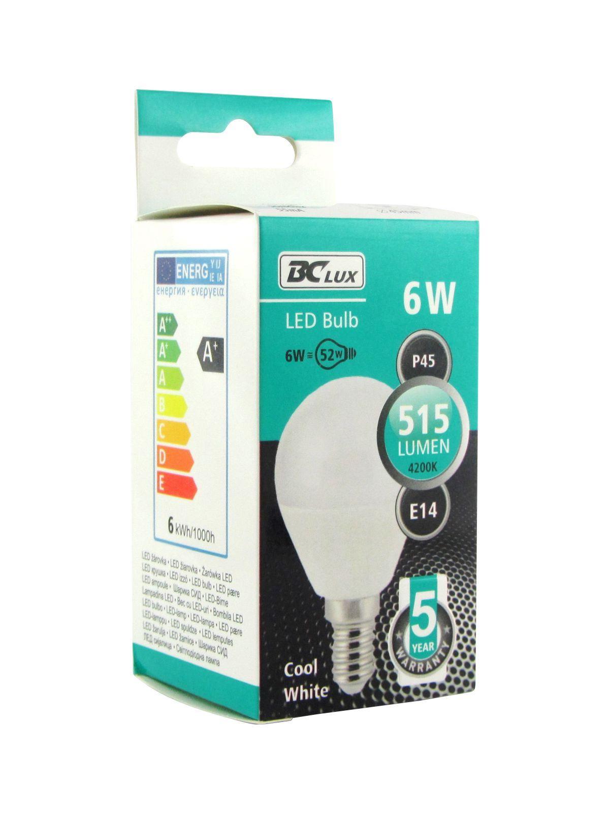 LED žárovka 6W P45 E14 studená bílá 5 let záruka