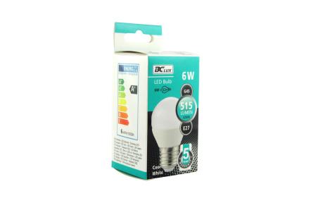 LED izzó 6W G45 E27 hideg fehér 5 év garancia