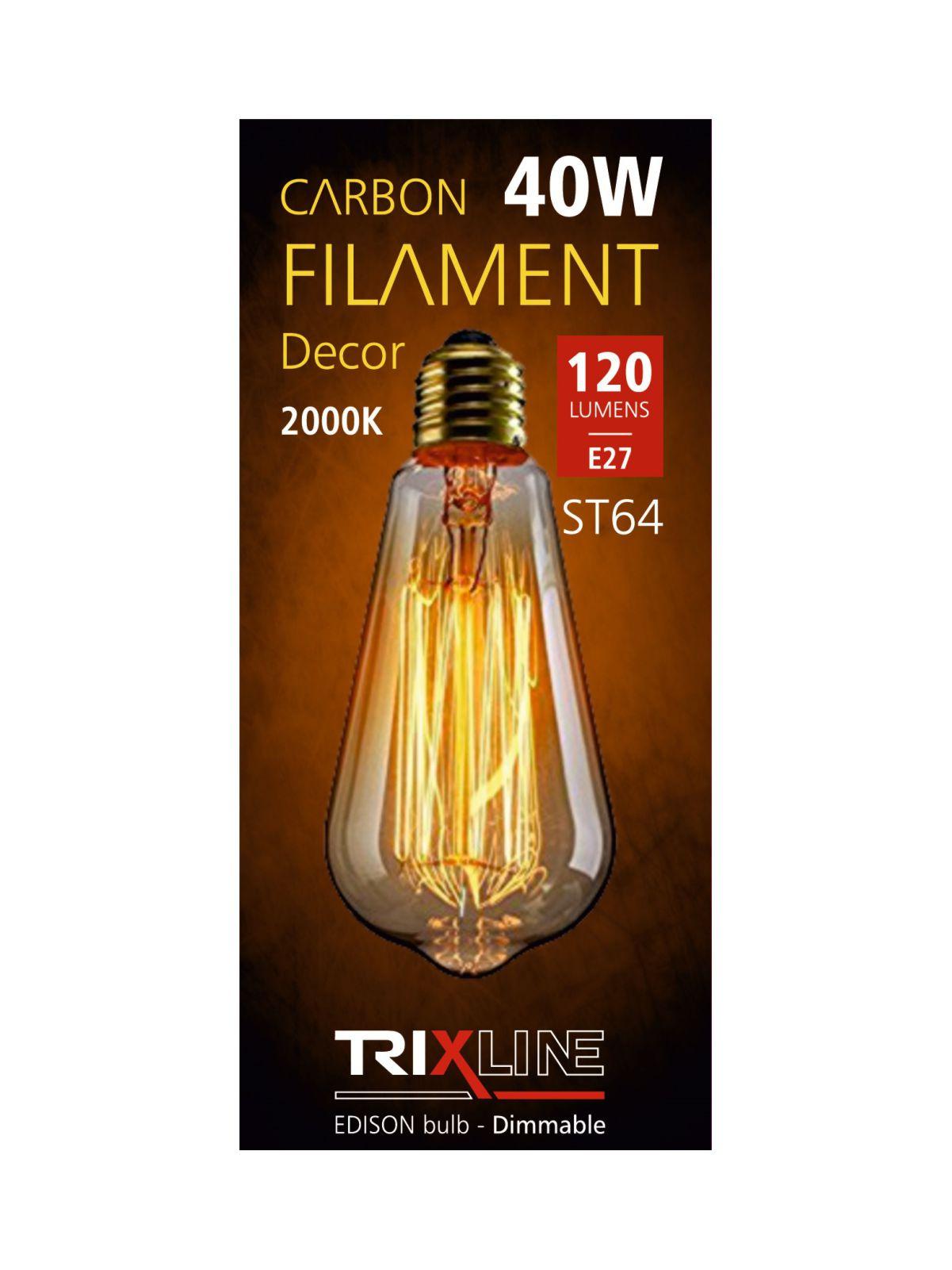 Dekorační stmívatelná žárovka Trixline 40W E27 (ST64-SC17)