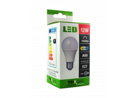LED žárovka Trixline 12W E27 A60 studená bílá
