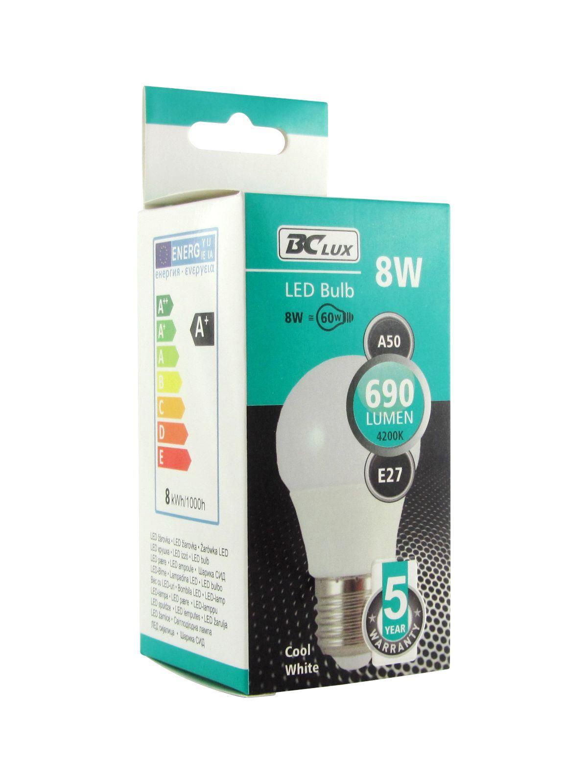 LED žárovka 8W A50 E27 studená bílá 5 let záruka
