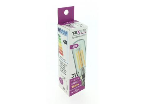 Dekorační LED žárovka FILAMENT Trixline ST25, 3W E14 teplá bílá