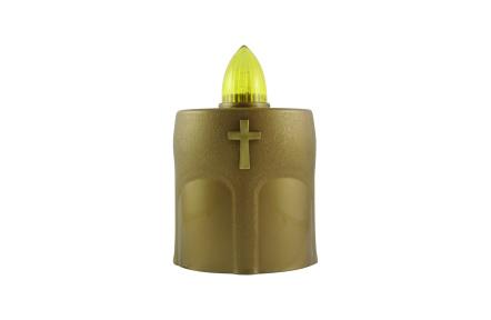 Hřbitovní LED svíčka s křížkem zlatá