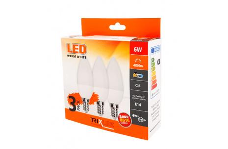 TRIXLINE LED izzó 6W C35 E14 meleg fehér 3 PACK