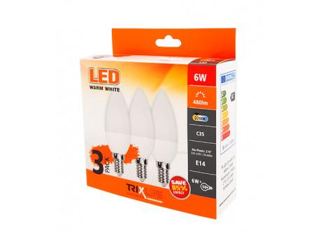 LED žárovka Trixline 6W C35 E14 teplá bílá 3 PACK