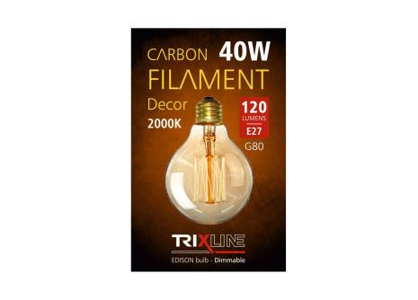Dekorační stmívatelná žárovka Trixline G80, 40W E27
