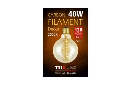 Żarówka dekoracyjna z możliwością ściemniania światła Trixline 40W E27 (G80-s24)