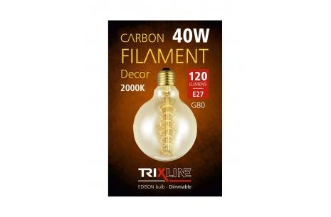 Dekorační stmívatelná žárovka Trixline 40W E27 (G80-S24)