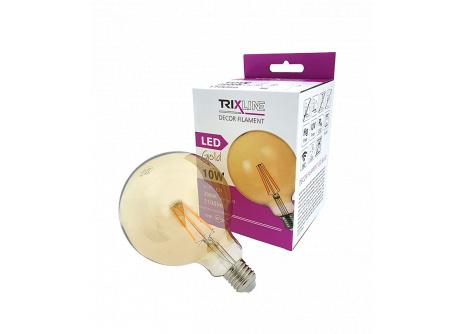 Dekorační LED žárovka FILAMENT Trixline G-125, 10W  E27 GOLD