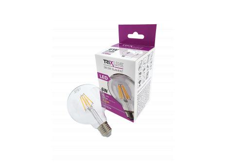 Dekorační LED žárovka FILAMENT Trixline G-95, 6W E27 teplá bílá