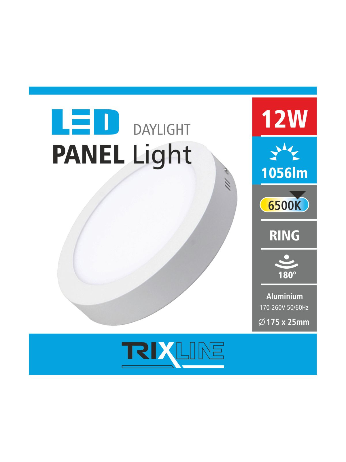 Podhľadové LED svietidlo TRIXLINE – prisadené okrúhle 12W studená biela
