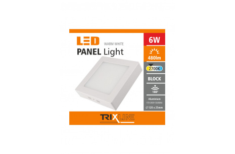 Podhledové LED svítidlo TRIXLINE – přisazené čtvercové 6W teplá bílá
