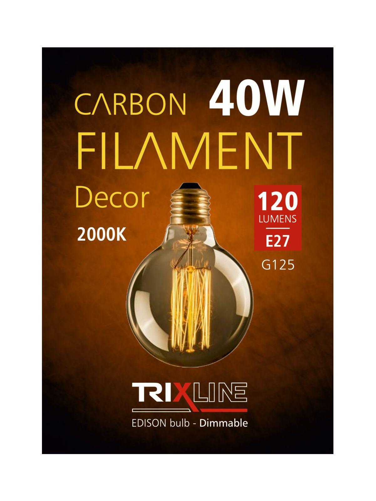 Dekorační stmívatelná žárovka Trixline 40W E27 (G125-SC29)