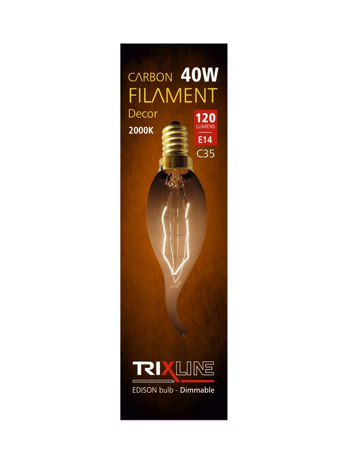 Dekorační stmívatelná žárovka Trixline 40W E27 (C35-LT)