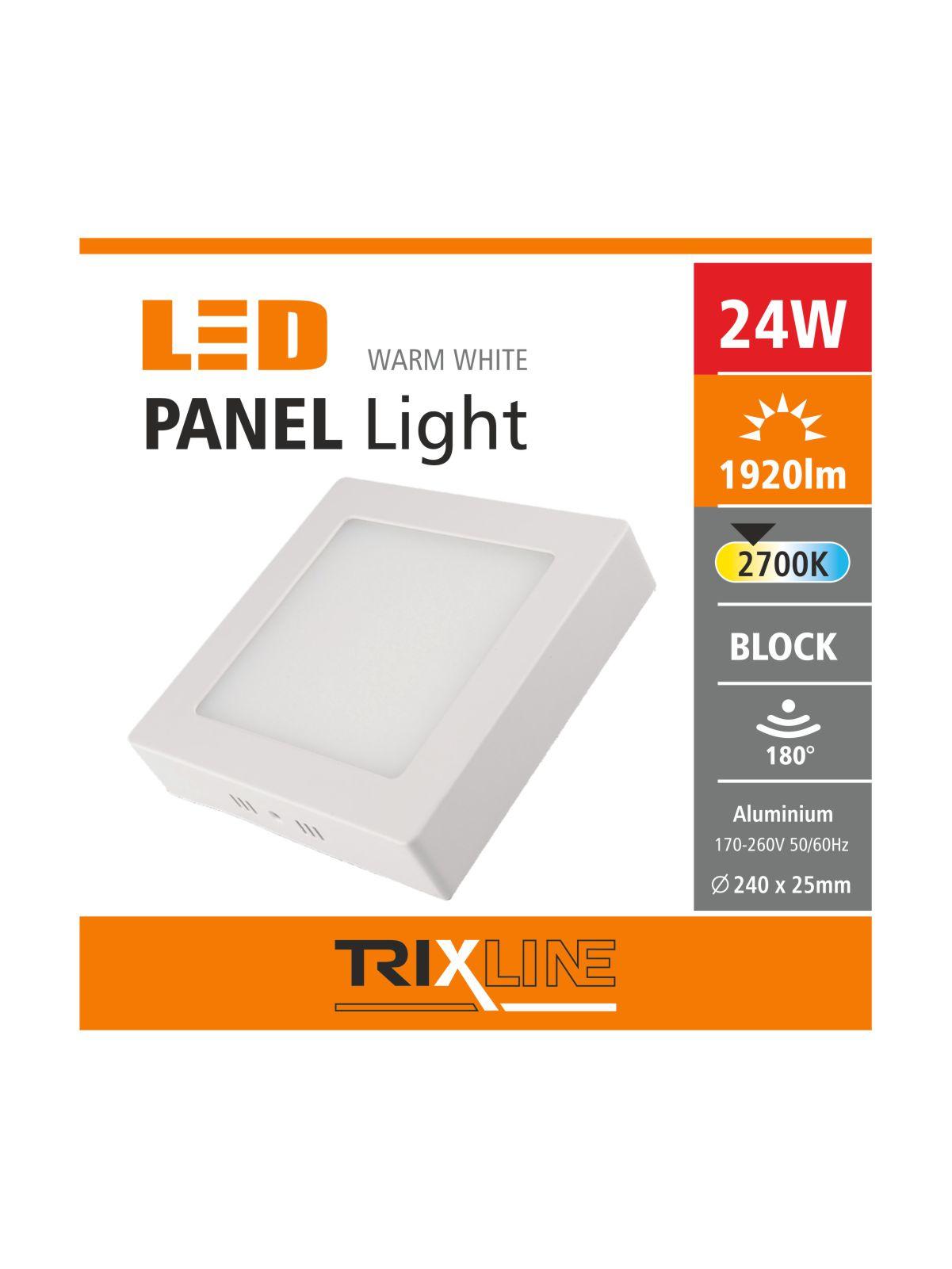 Podhledové LED svítidlo TRIXLINE – přisazené čtvercové 24W teplá bílá