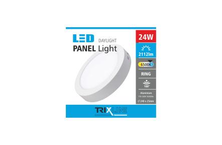 Podhledové LED svítidlo TRIXLINE – přisazené, kulaté 24W denní světlo
