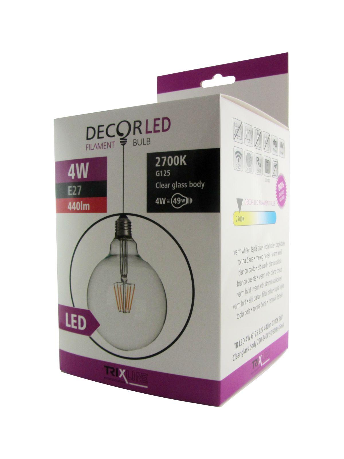 Dekorační LED žárovka FILAMENT Trixline 4W G-125 E27 teplá bílá