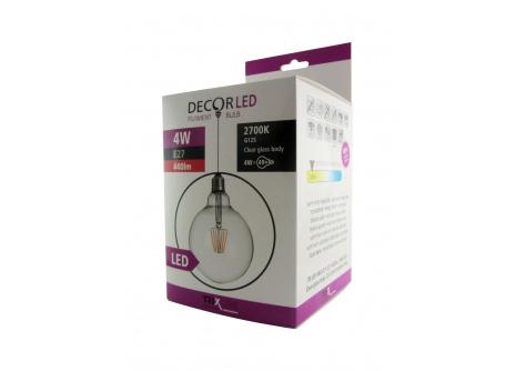 Dekorační LED žárovka FILAMENT Trixline G-125, 4W E27 teplá bílá