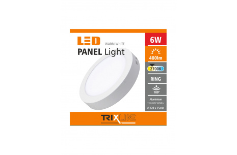 mennyezeti LED lámpa TRIXLINE – felületre szerelt kerek 6W meleg fehér